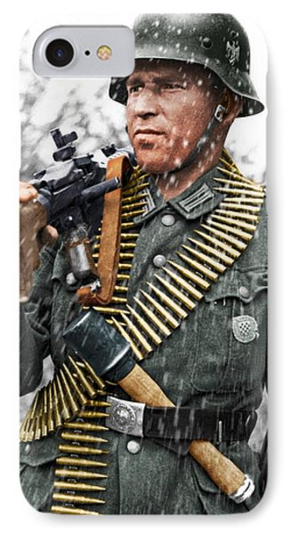 Colorized Ww2 German Mg'er IPhone Case by John Wills