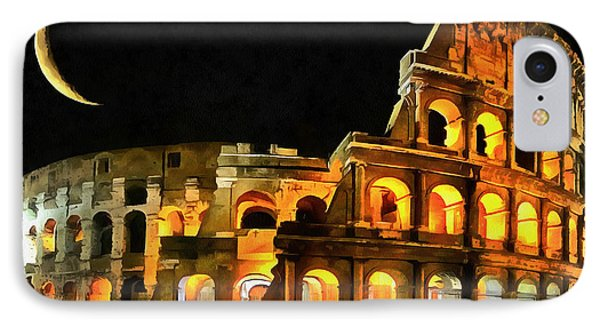 Colosseum Under The Moon IPhone Case by Mario Carini