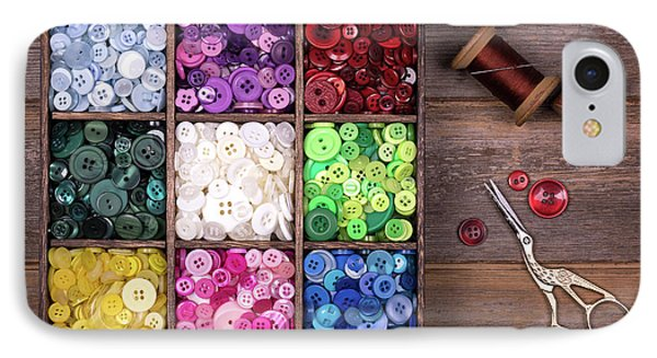 Colourful Buttons With Needle, Thread And Scissors IPhone Case by Jane Rix