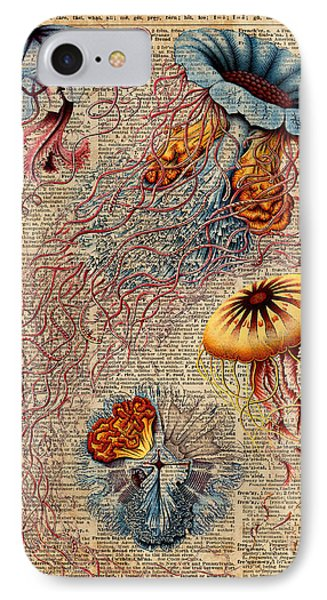 Colourful Jellyfish Marine Animals Illustration Vintage Dictionary Book Page,discomedusae IPhone Case by Jacob Kuch