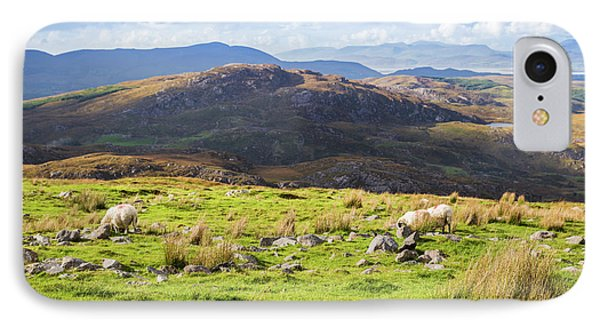 IPhone Case featuring the photograph Colourful Undulating Irish Landscape In Kerry With Grazing Sheep by Semmick Photo