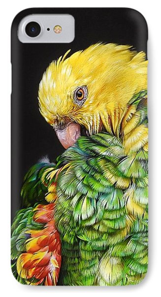 Colours Of The Jungle - Yellow-headed Amazon IPhone Case by Elena Kolotusha