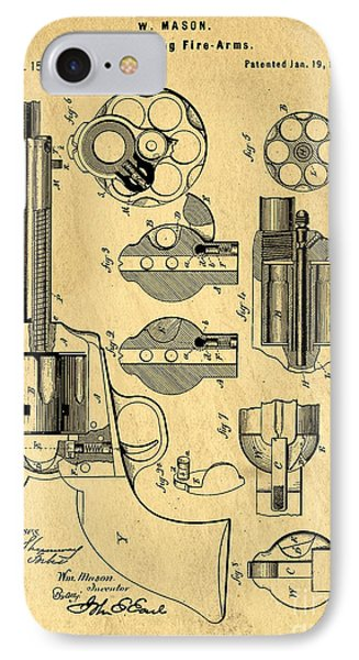 Colt Peacemaker Patent Art Blueprint Drawing IPhone Case by Edward Fielding