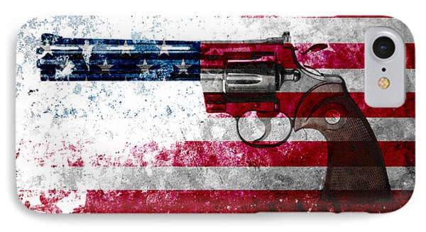 Colt Python 357 Mag On American Flag IPhone Case by M L C
