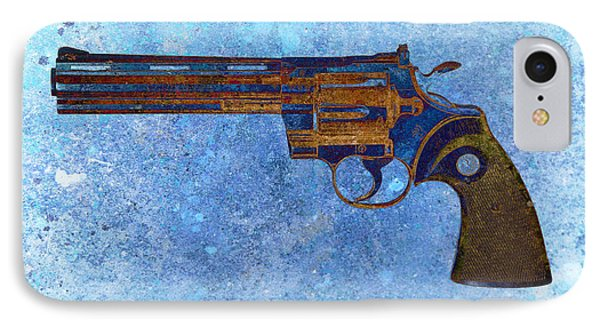 Colt Python 357 Mag On Blue Background. IPhone Case by M L C