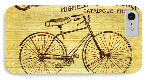 Columbia Bicycle Vintage Poster On Wood IPhone Case