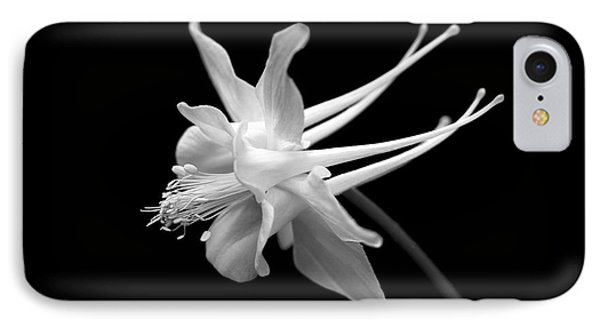 Columbine Flower Portrait Black And White Phone Case by Jennie Marie Schell