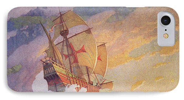 Columbus Crossing The Atlantic IPhone Case by Newell Convers Wyeth