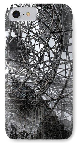 New York - Columbus Circle Globe -  Collage IPhone Case by Dave Beckerman