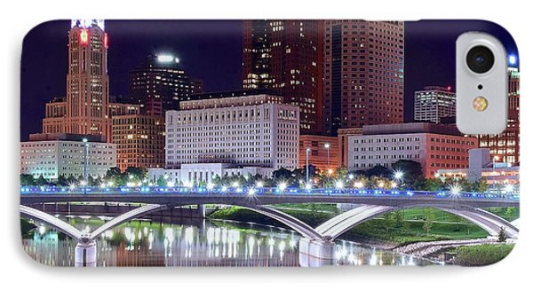 Columbus Night On The Scioto River IPhone Case by Frozen in Time Fine Art Photography