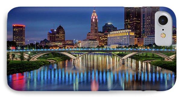 IPhone Case featuring the photograph Columbus Ohio Skyline At Night by Adam Romanowicz