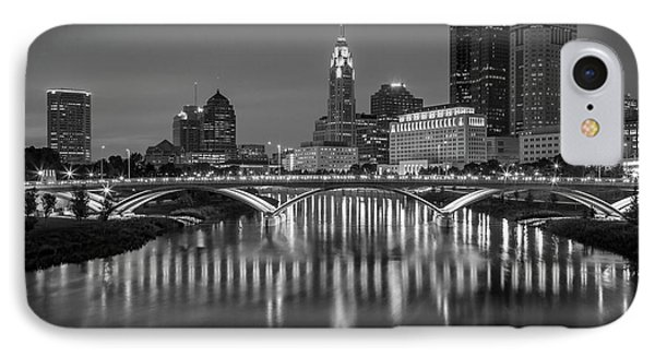 IPhone Case featuring the photograph Columbus Ohio Skyline At Night Black And White by Adam Romanowicz