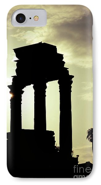 Column Sunset Temple Of Castor And Pollux In The Forum Rome Italy Phone Case by Andy Smy