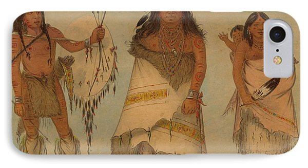 Comanche Chief, His Wife And A Warrior, 1861 IPhone Case