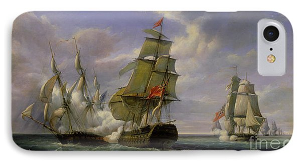 Combat Between The French Frigate La Canonniere And The English Vessel The Tremendous IPhone Case