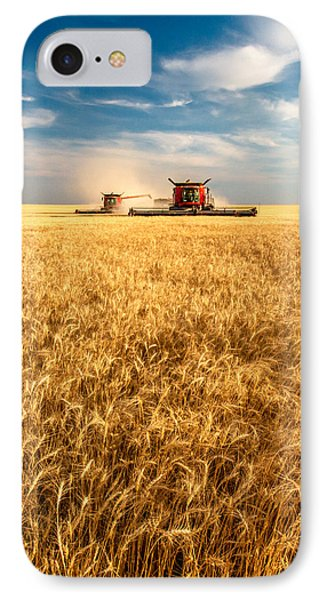 Combines Cutting Wheat IPhone Case by Todd Klassy