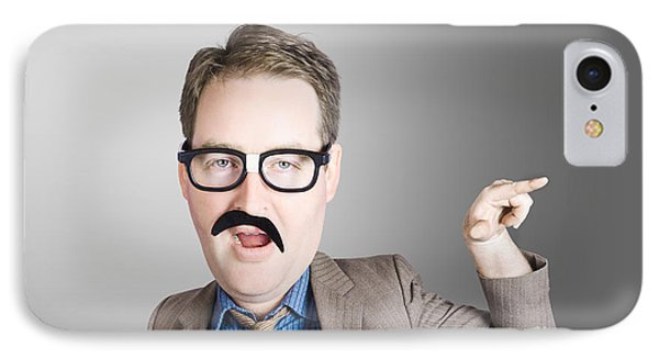 Comic Portrait Of A Nerd Businessman With Big Head IPhone Case by Jorgo Photography - Wall Art Gallery