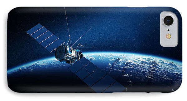 Communications Satellite Orbiting Earth IPhone Case by Johan Swanepoel