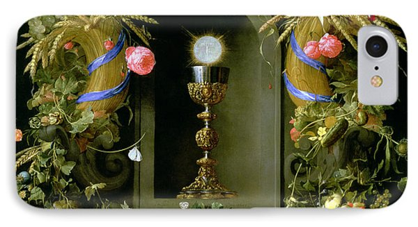 Communion Cup And Host Encircled With A Garland Of Fruit IPhone Case by Jan Davidsz de  Heem