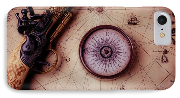 Compass And Pistole On Old Map IPhone Case by Garry Gay