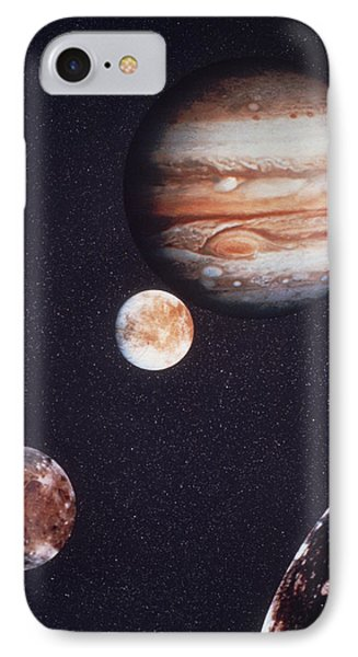 Composite Image Of Jupiter & Four Of Its Moons IPhone Case