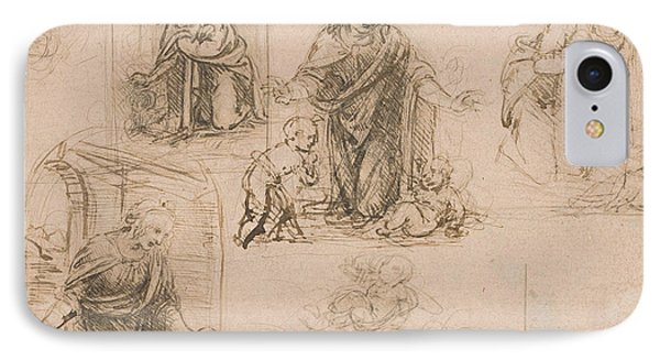 Compositional Sketches For The Virgin Adoring The Christ Child IPhone Case by Leonardo Da Vinci
