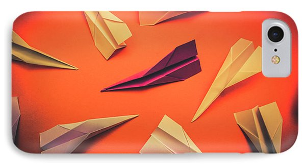Conceptual Photo Of Arranged Paper Planes On Bright Background IPhone Case by Jorgo Photography - Wall Art Gallery