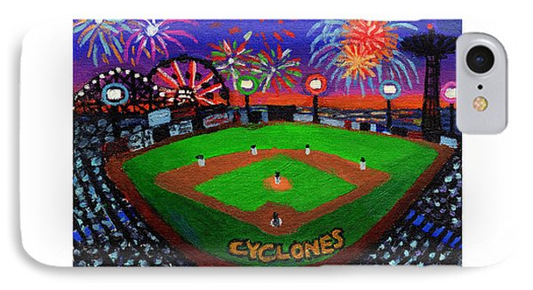 Coney Island Cyclones Fireworks Display IPhone Case by Bonnie Siracusa