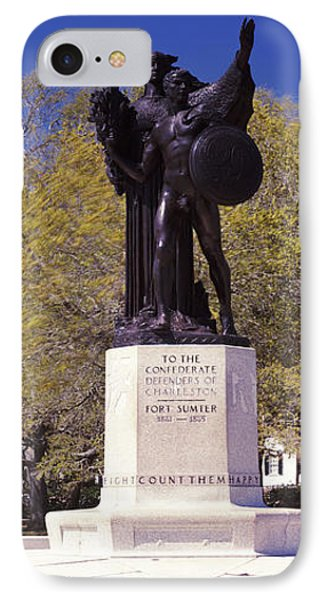 Confederate Defenders Statue In A Park IPhone Case by Panoramic Images