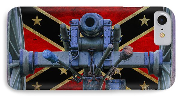 Confederate Flag And Cannon IPhone Case by Randy Steele