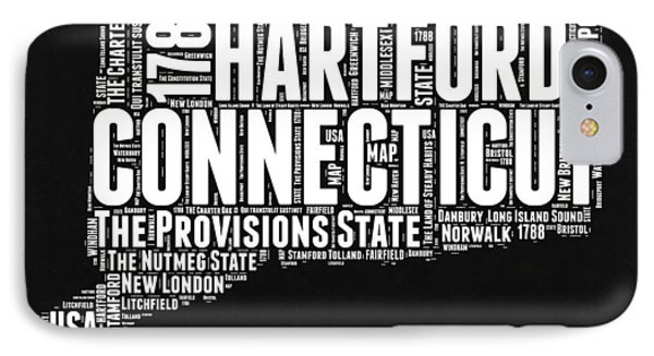 Connecticut Black And White Word Cloud Map IPhone Case