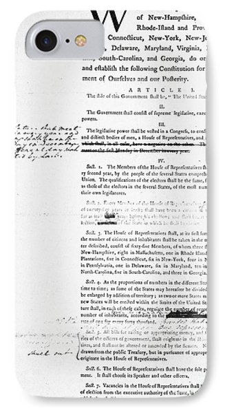 Constitution: Draft, 1787 IPhone Case by Granger