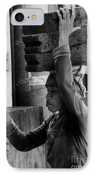 IPhone 7 Case featuring the photograph Construction Labourer - Bw by Werner Padarin