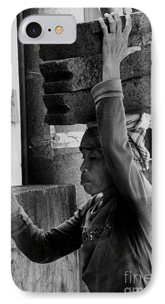 IPhone Case featuring the photograph Construction Labourer - Bw by Werner Padarin