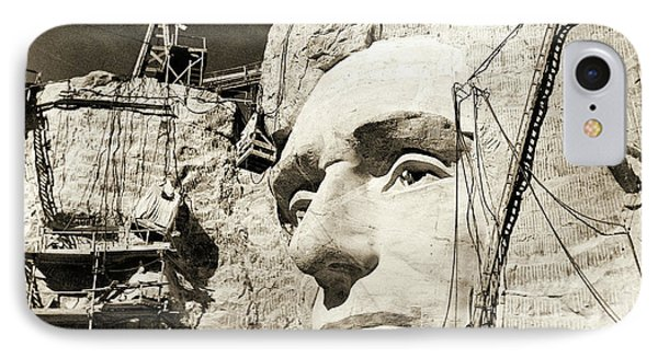 Construction Of The Mount Rushmore National Memorial, Detail Of Abraham Lincoln,1928  IPhone Case