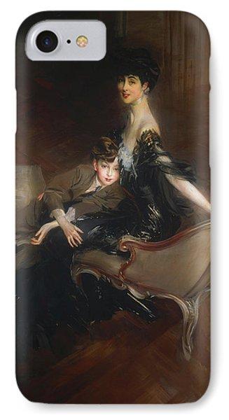Consuelo Vanderbilt - Duchess Of Marlborough And Her Son Lord Iv IPhone Case