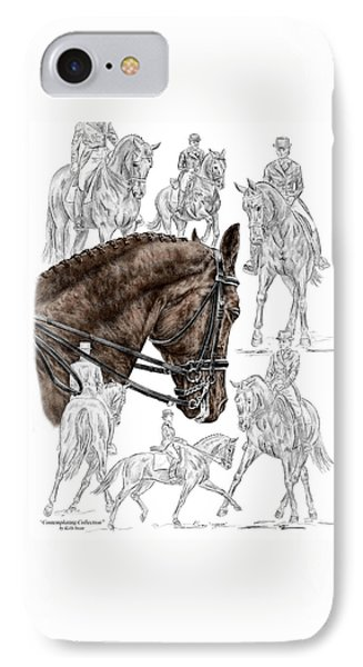 Contemplating Collection - Dressage Horse Print Color Tinted IPhone Case by Kelli Swan