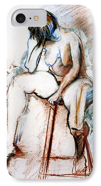 Contemplation - Nude On A Stool IPhone Case by Kerryn Madsen-Pietsch