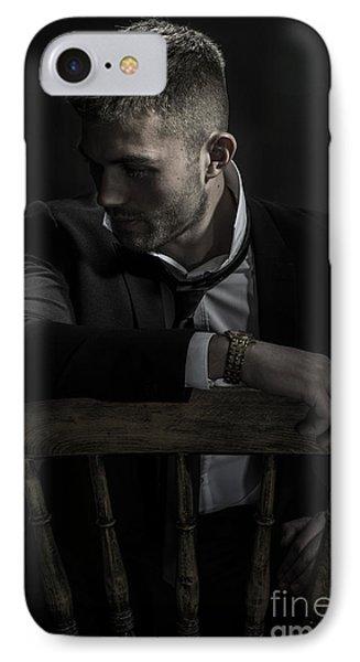 Contemplative Male Model IPhone Case by Amanda Elwell
