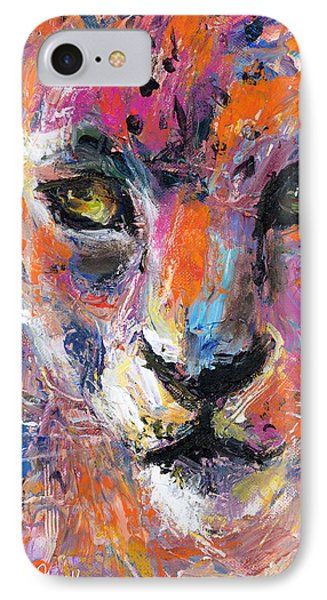 contemporary Wildlife painting cheetah leopard  IPhone Case by Svetlana Novikova