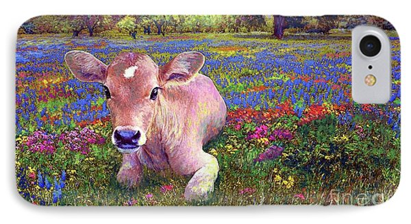 Cow iPhone 7 Case - Contented Cow In Colorful Meadow by Jane Small