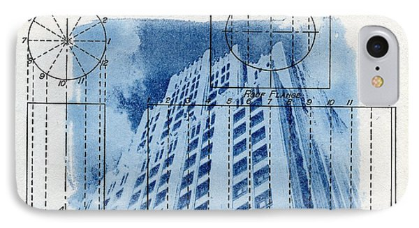 Continental Life Building Cyanotype Blueprint Architecture IPhone Case