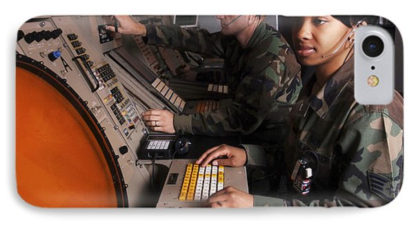 Control Technicians Use Radarscopes Phone Case by Stocktrek Images