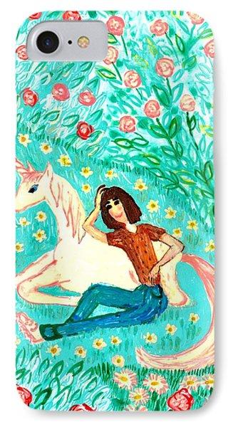 Conversation With A Unicorn Phone Case by Sushila Burgess