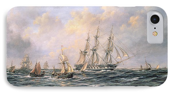 Convoy Of East Indiamen Amid Fishing Boats IPhone Case