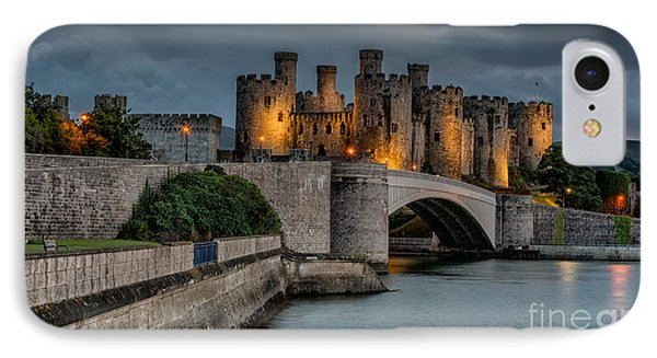 Conwy Castle By Lamplight IPhone Case by Adrian Evans