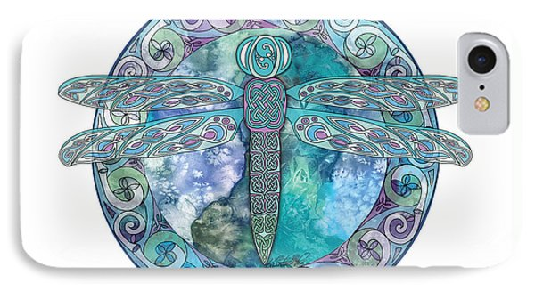 IPhone Case featuring the mixed media Cool Celtic Dragonfly by Kristen Fox