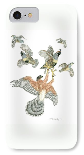 Cooper's Hawk And Gambels Quail Phone Case by Tim McCarthy