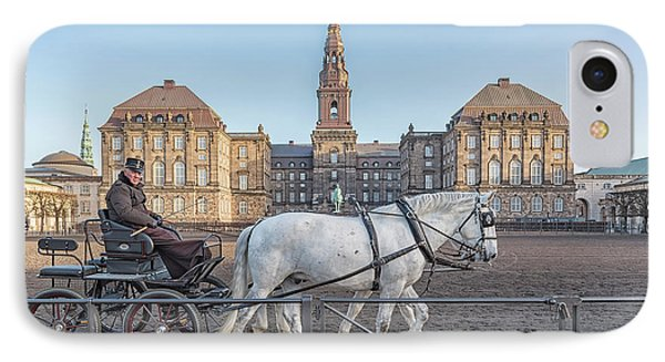 IPhone Case featuring the photograph Copenhagen Christianborg Palace Horse And Cart by Antony McAulay