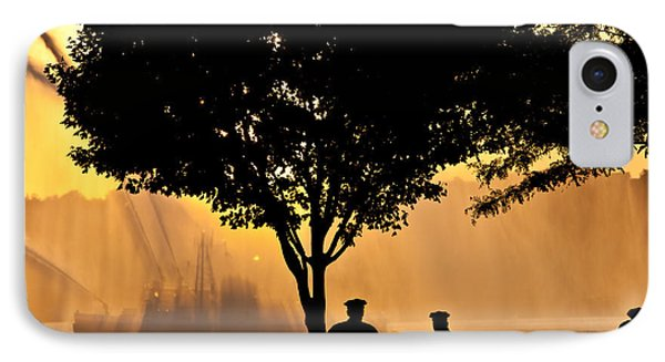 Cops Watch A Fireboat On The Hudson River Phone Case by Chris Lord